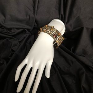 Jewelry - Amber and Gold Toned Claw Cuff Bracelet